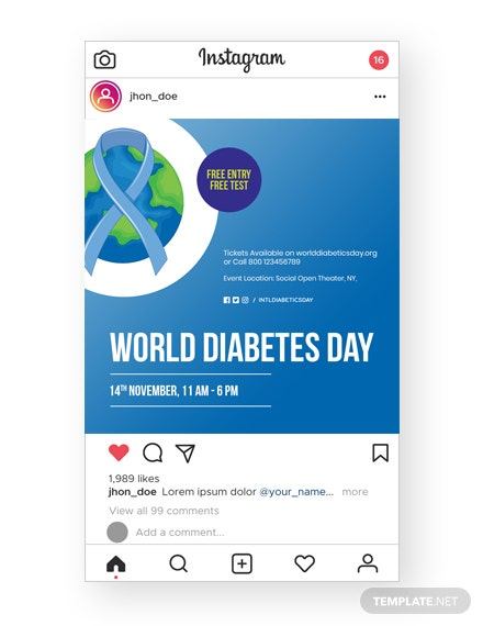 World Diabetes Day Instagram Post