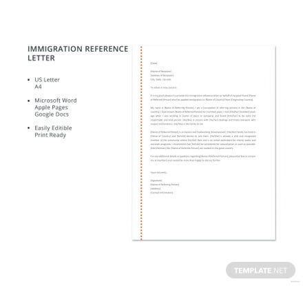 Free Immigration Reference Letter Template