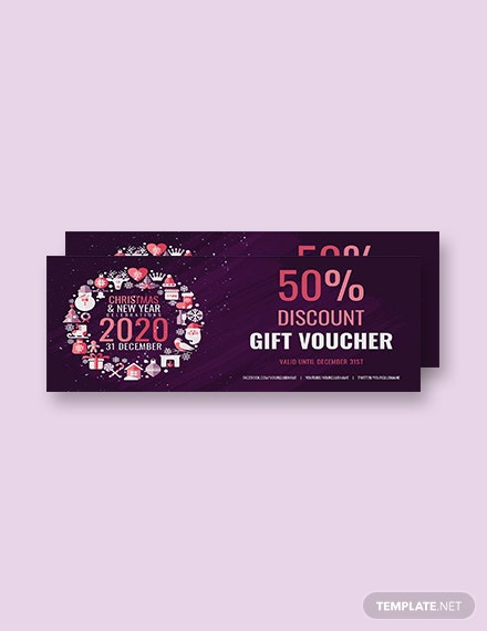 Free Simple Christmas Discount Gift Voucher Template