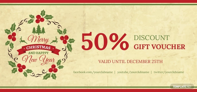Simple Christmas Discount Voucher Template