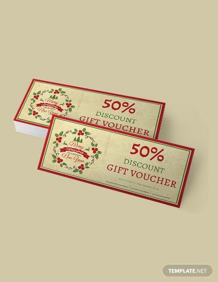 Free Simple Christmas Discount Voucher Template
