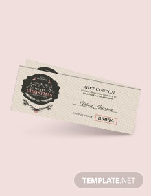 Free Vintage Christmas Gift Coupon Template