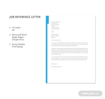 Free Job Reference Letter Template