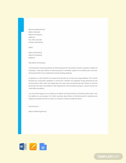 Free-Job-Reference-Letter-Template