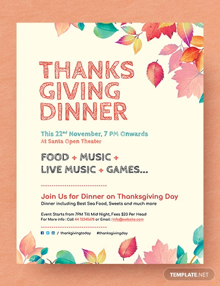free thanksgiving dinner flyer template 440