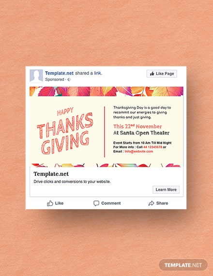 Free Thanksgiving Facebook Post Template