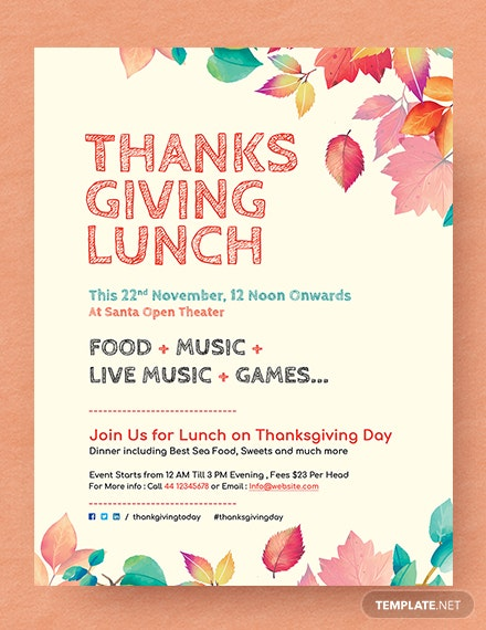 Free Thanksgiving Lunch Flyer Template