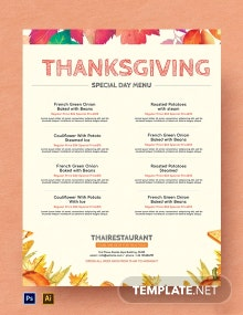 Free Simple Thanksgiving Menu Template
