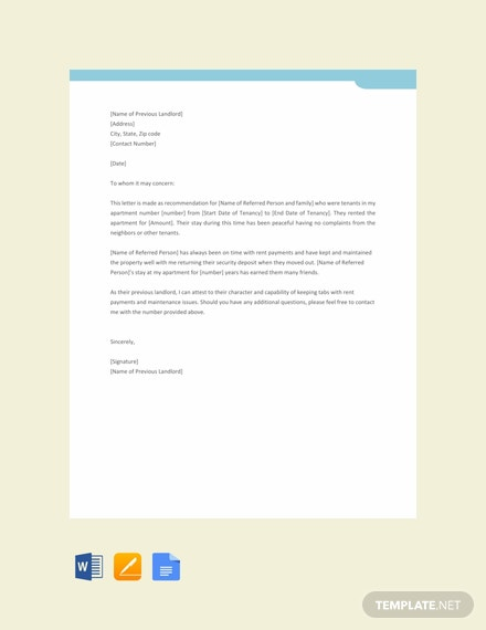 Free Landlord Reference Letter Template Word Google