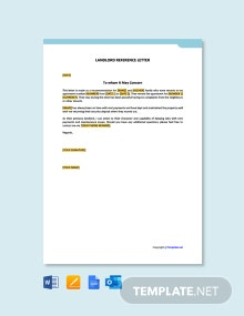 Free Landlord Reference Letter Template