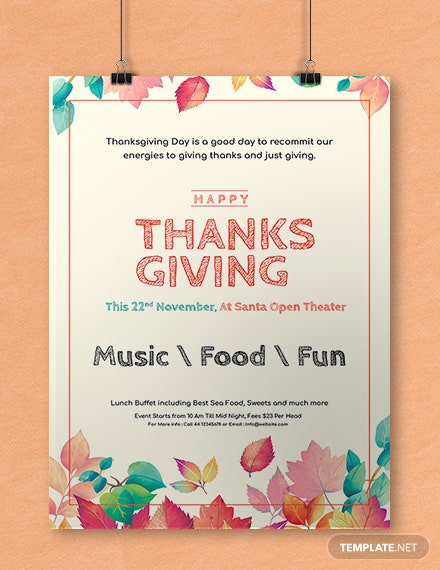 Free Thanksgiving Poster Template