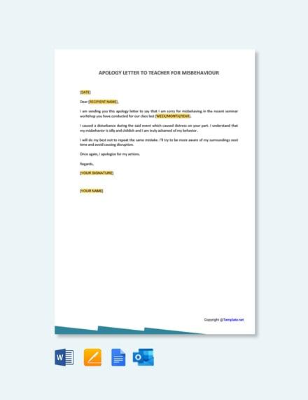 Free Apology Letter to Teacher for Misbehavior