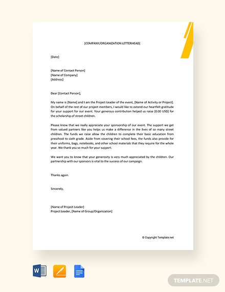 Appreciation Letter for Sponsorship Template
