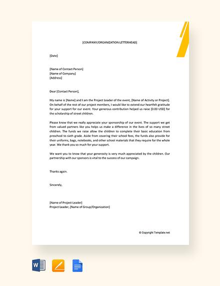 Free Appreciation Letter for Sponsorship