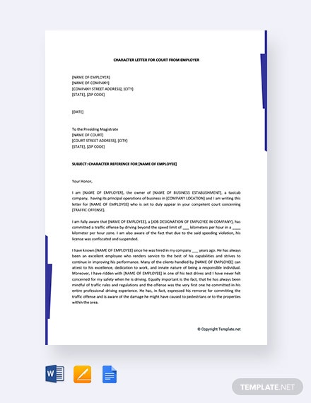 Free Character Letter For Court From Employer