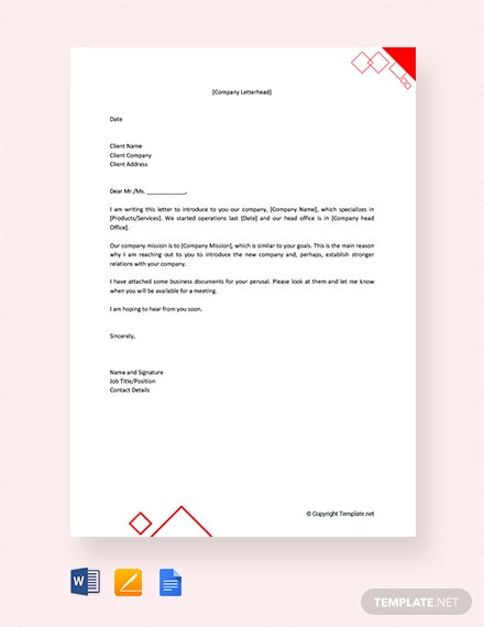 Free Company Introduction Letter to Client