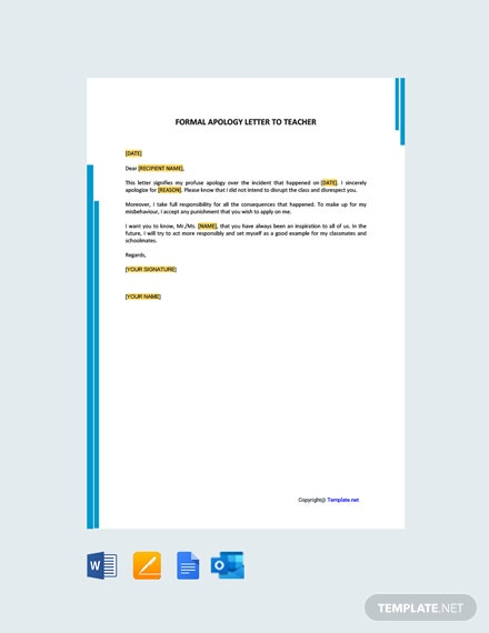 Free Formal Apology Letter to Teacher
