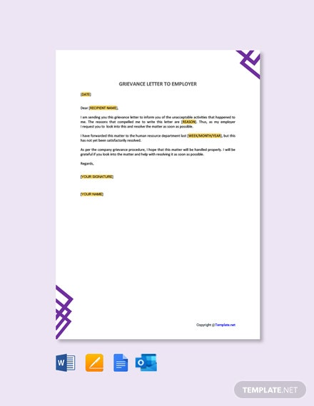 Free Grievance Letter to Employer