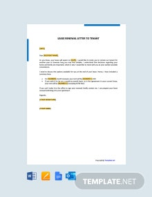 Free Lease Renewal Letter to Tenant