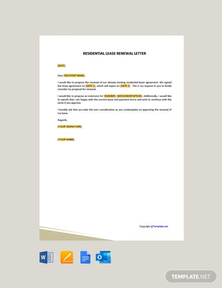 Residential Lease Renewal Letter