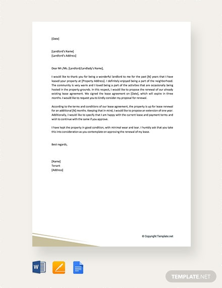 Free Residential Lease Renewal Letter