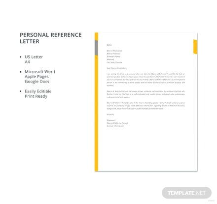 Free personal reference letter template download 700 letters in free personal reference letter template spiritdancerdesigns Choice Image