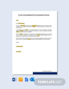 Free letter of Recommendation for Leadership Position