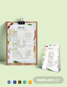 Blank Food Menu Template