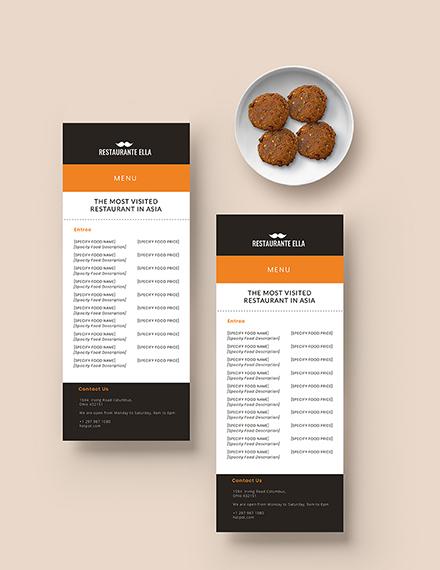 Blank Restaurant Menu Download