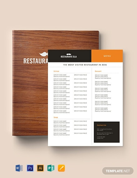 Blank Restaurant Menu Template