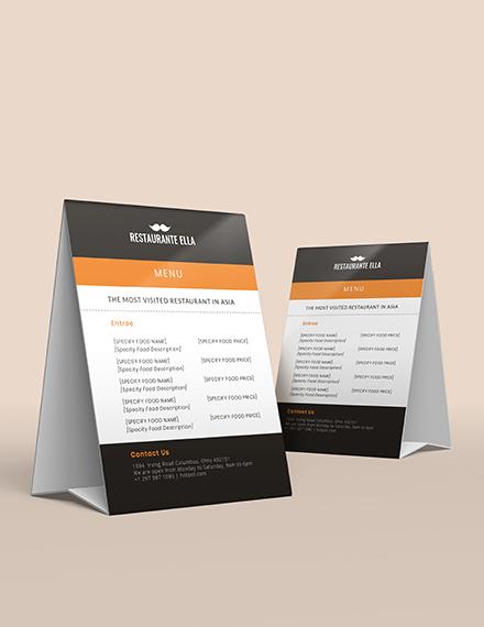 Sample Blank Restaurant Menu