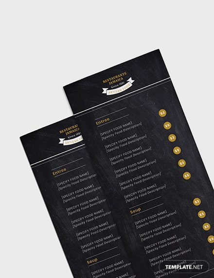 Sample Chalkboard Blank Menu