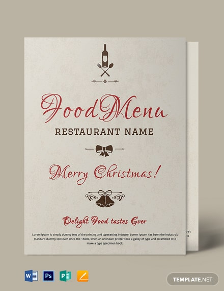 Free Christmas Menu Flyer Template