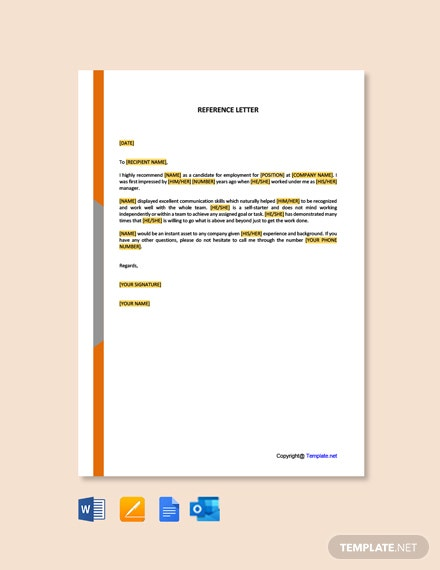 Free Reference Letter Template