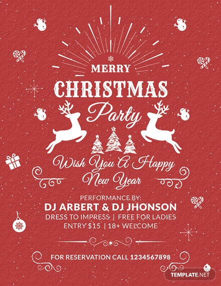 vintage christmas flyer template1x