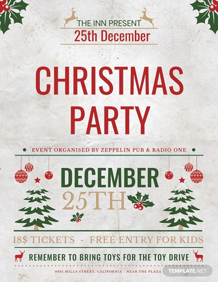christmas event party flyer template1x