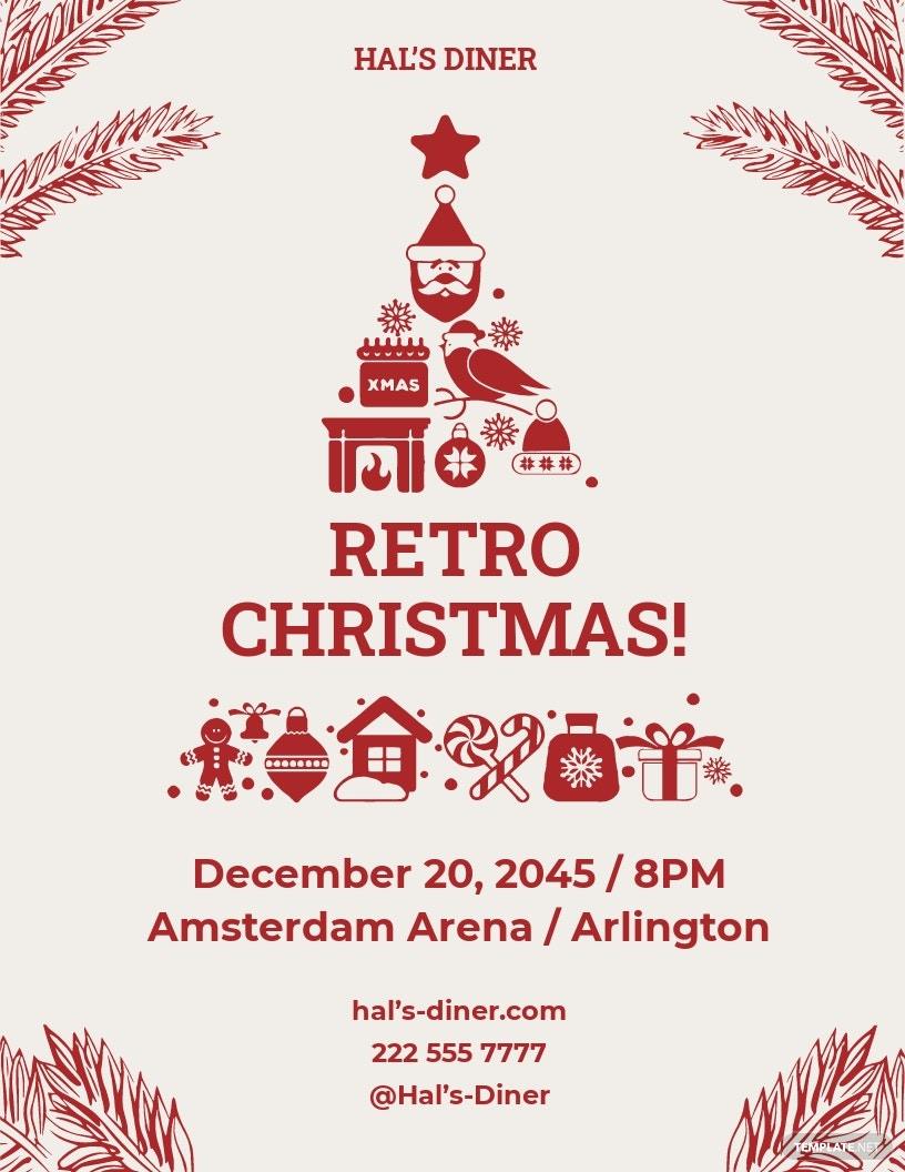 FREE Retro Christmas Flyer Template