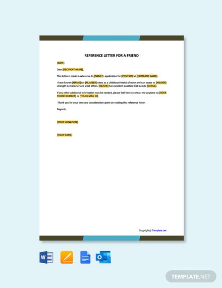 Free Reference Letter for a Friend Template