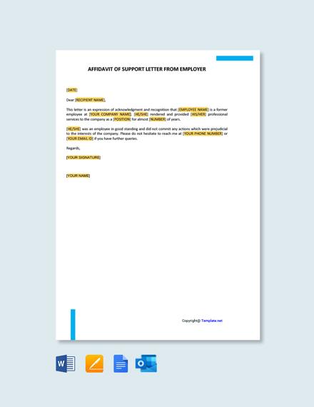 Free Affidavit of Support Letter