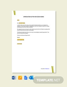 Free Appreciation Letter for Good Work