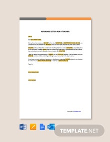 Free Reference Letter for a Teacher Template