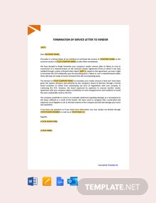 Free Termination of Services Letter to Vendor