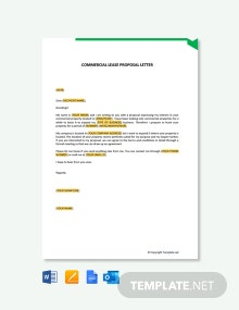 Free Commercial Lease Proposal Letter