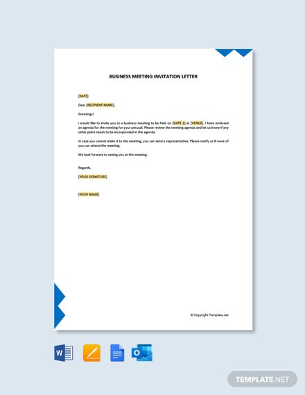 Free Formal Business Meeting Invitation Letter
