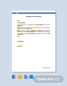 Free Reference Letter for Friend Template