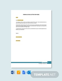 Free Formal Excuse Letter for Work