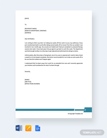 free formal excuse letter for work template