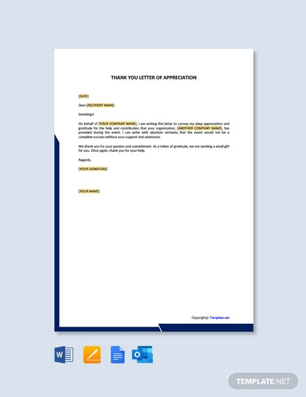 Professional Thank You Letter of Appreciation Template