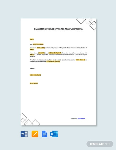 Character Reference Letter for Apartment Rental