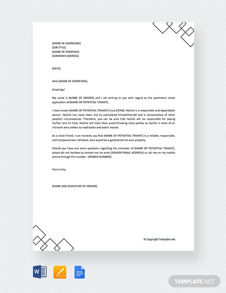 Free Character Reference Letter for Apartment Rental